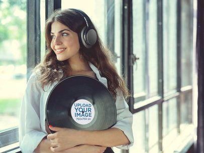 Vinyl Record Mockup Featuring a Smiling Woman 36723-r-el2