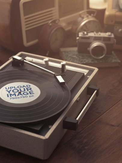 Vintage-Looking Mockup of a Vinyl Record Placed on a Turntable 36911-r-el2