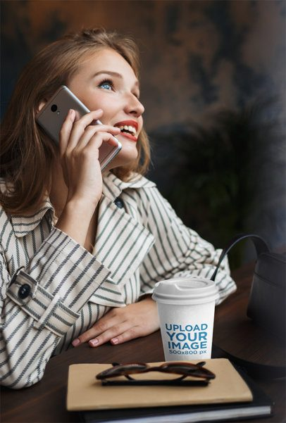 Coffee Cup Mockup Featuring a Woman on the Phone 36512-r-el2