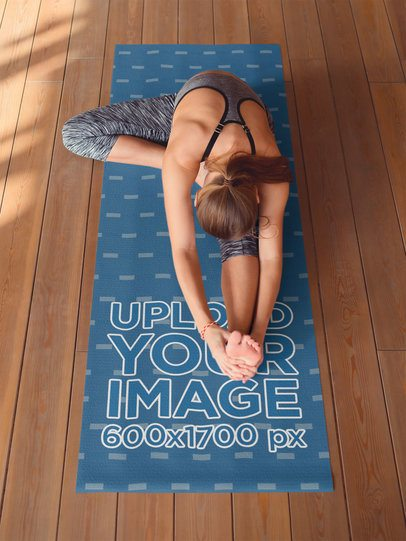 Yoga Mat Mockup Featuring a Woman Seen from Above 37095-r-el2