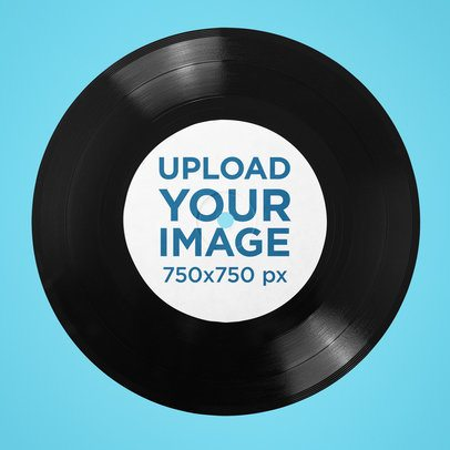 Mockup of a Vinyl Record Featuring a Customizable Background 36670-r-el2