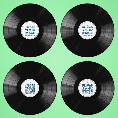 Mockup of Four Vinyl Records Placed on a Solid Color Surface 37277-r-el2