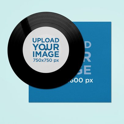 Mockup of a Vinyl Record Featuring a Customizable Background 36679-r-el2