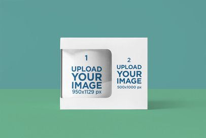 Mockup Featuring an 11 oz Coffee Mug and Its Box 4487-el1