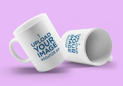 Minimal Mockup of Two Coffee Mugs Placed Against a Colored Background 4503-el1