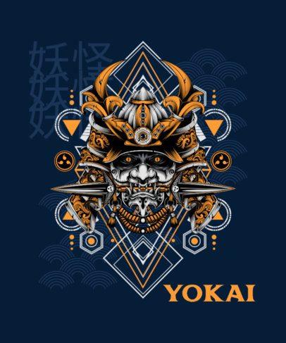 T-Shirt Design Template with an Evil Yokai Face 1827h-el1
