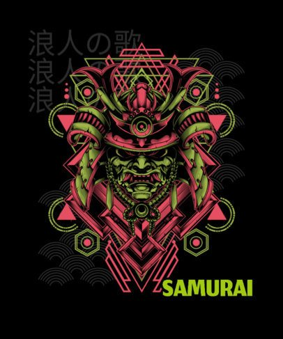 T-Shirt Design Generator Featuring an Evil Samurai Mask 1827k-el1