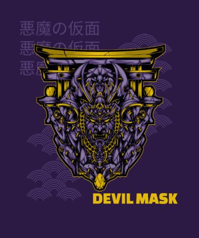 T-Shirt Design Generator with an Intense Graphic of a Demonic Mask 1827n-el1