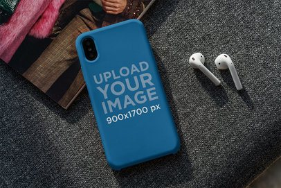 Phone Case Mockup Featuring a Pair of Earbuds 4612-el1