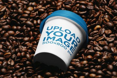 Mockup of a Paper Cup Placed over a Bunch of Coffee Beans 36651-r-el2