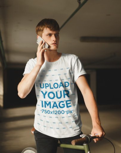 Mockup Featuring a Tall Man with a T-Shirt Talking on the Phone 37443-r-el2