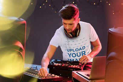 T-Shirt Mockup of a Male DJ on Stage 36971-r-el2