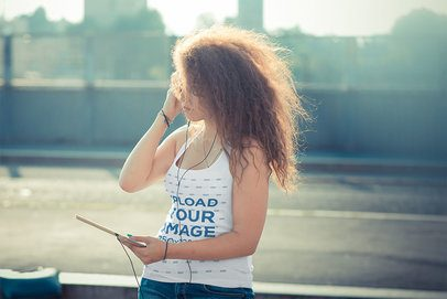 Tank Top Mockup of a Woman Listening to Music 37562-r-el2