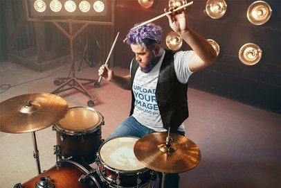 T-Shirt Mockup of a Drummer Performing on Stage 37029-r-el2