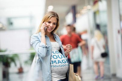 Tank Top Mockup Featuring a Pregnant Woman Talking on the Phone 37249-r-el2