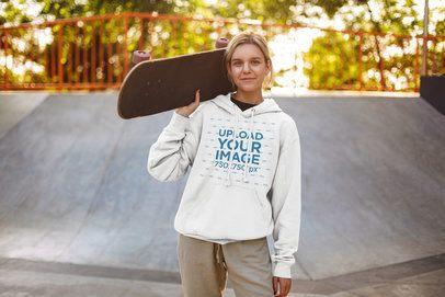 Hoodie Mockup of a Teen Girl at a Skate Park 37609-r-el2