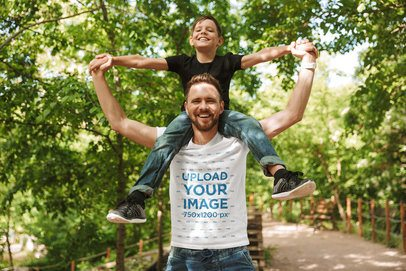 Mockup of a Father with a Round-Neck Tee Having Fun with His Son 37429-r-el2