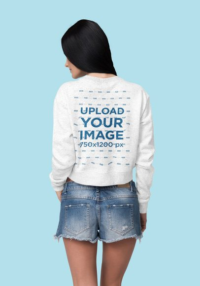 Crop Top Sweatshirt Mockup Featuring a Woman at a Studio 4405-el1