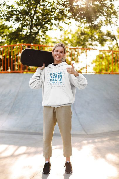 Hoodie Mockup Featuring a Happy Teenager at a Skatepark 37610-r-el2