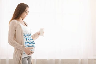 Tank Top Mockup of a Pregnant Woman Caressing Her Belly 37015-r-el2
