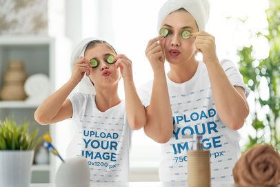 T-Shirt Mockup of a Mom and Daughter Having a Spa Day at Home 37483-r-el2