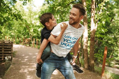 T-Shirt Mockup Featuring Father and Son at a Park 37431-r-el2