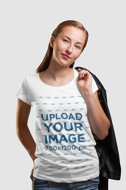Round Neck Tee Mockup of a Woman Carrying a Garment on Her Shoulder 4446-el1