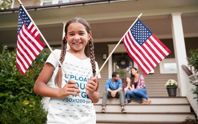 T-Shirt Mockup of a Girl Waving Two American Flags 37641-r-el2