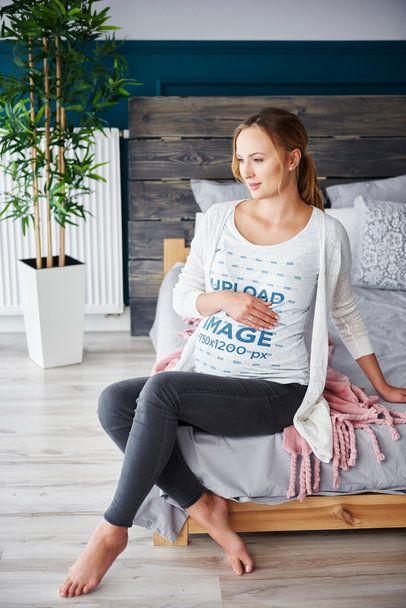T-Shirt Mockup of a Pregnant Woman Posing at Home 37011-r-el2