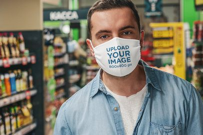 Face Mask Mockup Featuring a Man at a Grocery Store 4682-el1