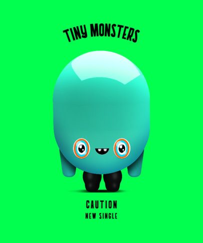 Kids T-Shirt Design Template Featuring a Tiny Imaginary Monster 2651f