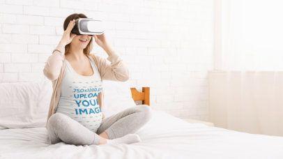 Tank Top Mockup of a Pregnant Woman Using a VR Headset 37018-r-el2