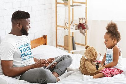 T-Shirt and Tank Top Mockup of a Father Playing with His Little Daughter 37472-r-el2