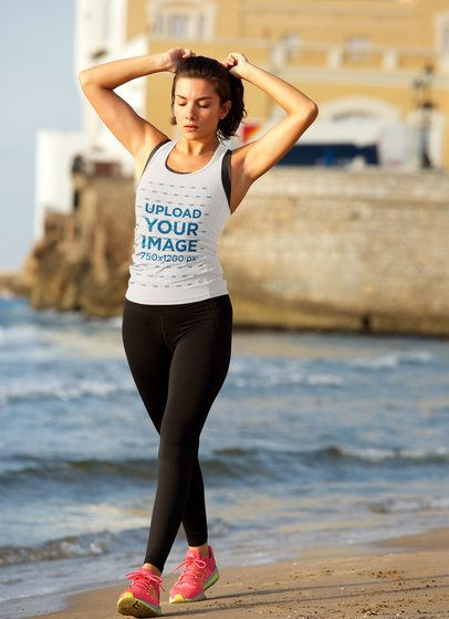 Tank Top Mockup of a Woman in Sportswear at the Beach 37892-r-el2
