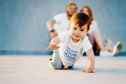 T-Shirt Mockup Featuring a Toddler Taking His First Steps 37509-r-el2