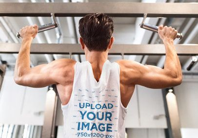 Back-View Tank Top Mockup of a Man Doing Pullups 37879-r-el2