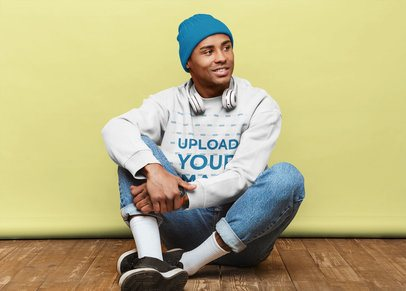 Sweatshirt Mockup of a Man Sitting on Wooden Floor 37946-r-el2