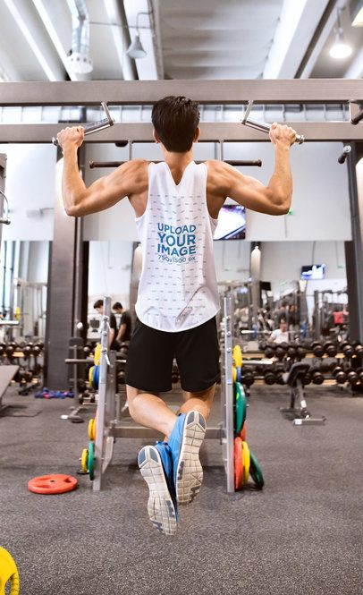 Tank Top Mockup of a Man Doing Pull-Ups at the Gym 37881-r-el2