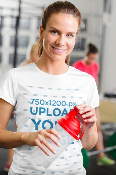 T-Shirt Mockup of a Smiling Woman Training at the Gym 37866-r-el2
