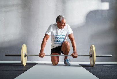 T-Shirt Mockup of a Man Training Weightlifting 37926-r-el2