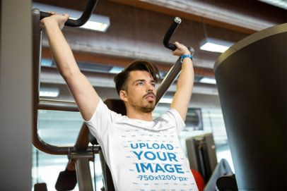 T-Shirt Mockup of a Man Working Out at the Gym 38019-r-el2