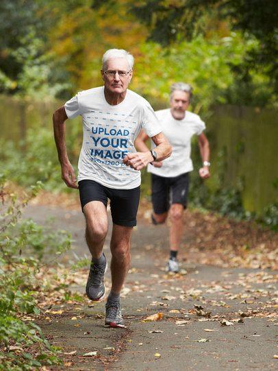 T-Shirt Mockup of a Senior Man Running in Nature 37989-r-el2