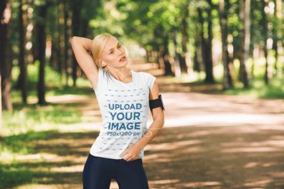 T-Shirt Mockup of a Woman Working Out in Nature 37944-r-el2