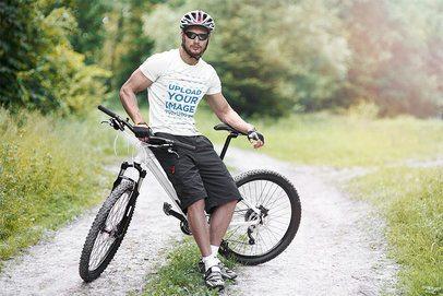 T-Shirt Mockup of a Man Riding His Mountain Bike 38256-r-el2