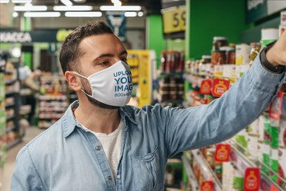 Face Mask Mockup Featuring a Man at the Supermarket 4681-el1