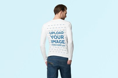 Back-View Mockup of a Man Wearing a Long-Sleeve Tee Against a Plain Background 4741-el1