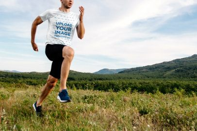 T-Shirt Mockup of a Man Running Outdoors 37871-r-el2
