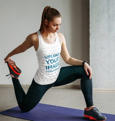 Mockup of a Woman Wearing a Tank Top While Stretching 37176-r-el2