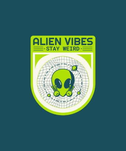 Space T-Shirt Design Creator with a Badge of an Alien 1939d