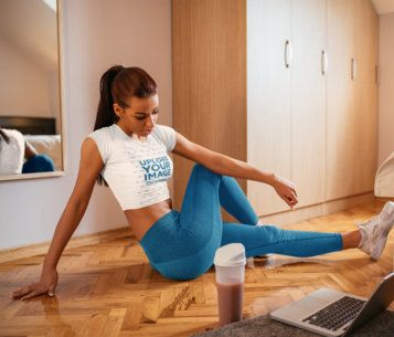 Crop Top Mockup of a Woman Working Out at Home 37260-r-el2